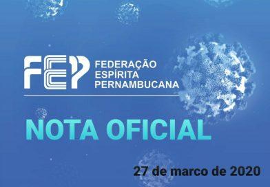 Nota oficial da FEP (27 de março de 2020)