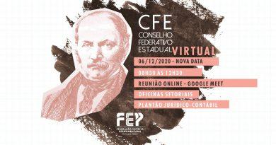 Reunião do Conselho Federativo Estadual – CFE (VIRTUAL) – Domingo, 06 de dezembro