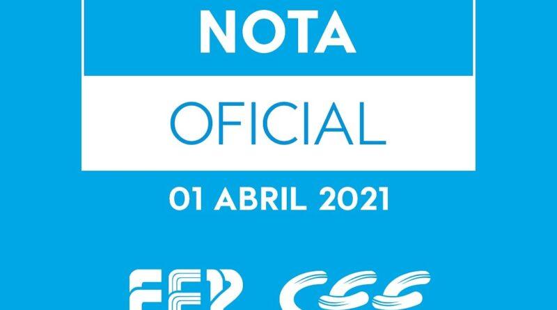 Nota oficial conjunta FEP e CEE (1º de abril de 2021) – COVID19