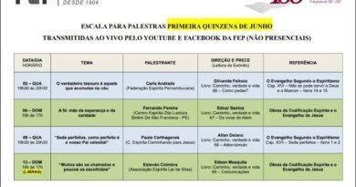 Agenda de palestras FEP com transmissão ao vivo (sem público presencial) – Junho/2021